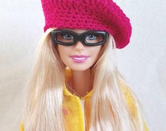 Barbie doll beret, fuchsia pink hat for Barbie-like dolls