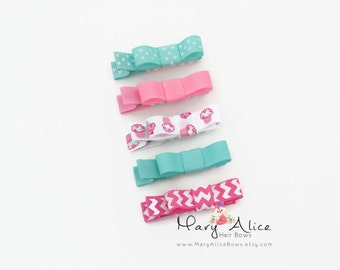 """Baby Hair Bow Set of 5- 1.75"""" Girls Hair Bow, Toddler Hair Bow, No Slip Alligator Clip for Baby Girl- Made to Order"""