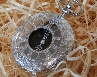 Silver Steampunk Pocket Watch Gift Set ideal for Wedding Groomsmen or gift for Dad
