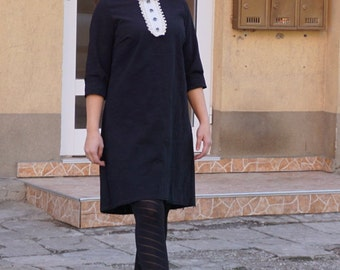 Stylish Elegant Classy Dress, Hot Black White Collar Business Dress, Party Dress, Office Wear