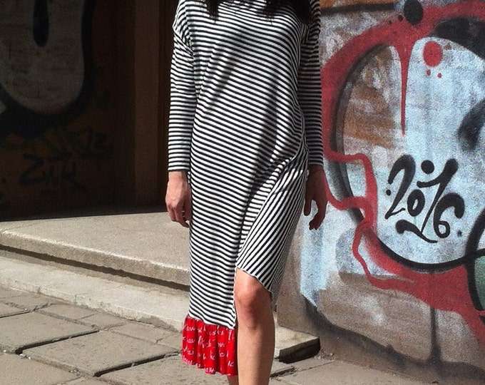 Avant Garde Stripe Red frill Dress / Asymmetric Black White Dress / Loose Maxi Deconstructed dress