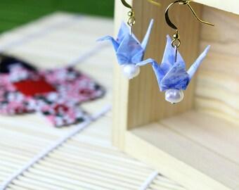 Handmade Japanese Origami Crane Earrings, Japanese Crane, Light Blue and Gold