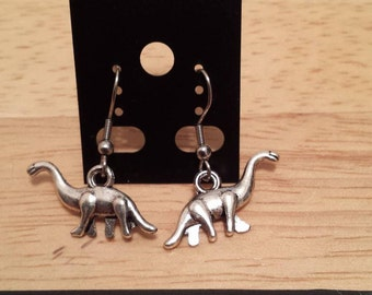Necklace/Earring silver color dinosaur / Earring/Necklace dinosaur animal silver color