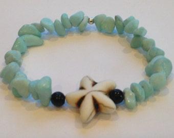 Light Blue Tumbled Stone with Starfish
