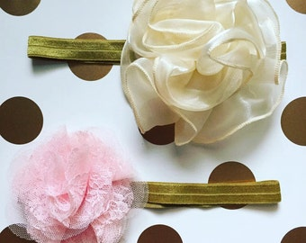 Gold Elastic Headband with Ivory and Light Pink Embellishments