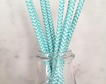 Teal Chevron Paper Straws (25)