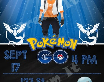 Pokemon Go Digital Invitations with Cupcakes Toppers