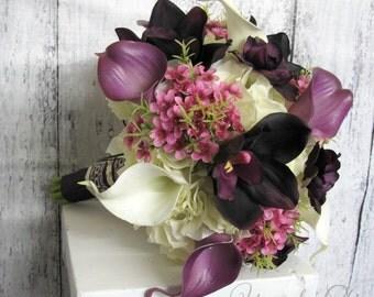 Spring wedding bouquet, Plum pink cream Silk flowers, Bridal bouquet