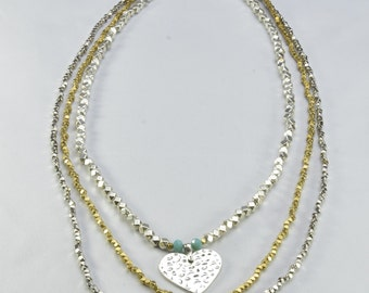 Three Level Long Heart Necklace- 0062