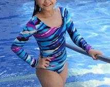 Long sleeve bodysuit | One Piece Swimsuit | Leotard | Bodysuit | Bathing suit | Active Swimsuit | UV Protection | Open Back Bodysuit | Blue