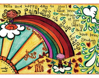 Sending you Rainbows into Your Heart 5 x 7 Greeting Card