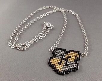 Hufflepuff Necklace - Pixel Necklace Hufflepuff Crest Necklace Pixel Jewelry 8 bit Necklace Seed Bead Neklace Harry Potter Necklace