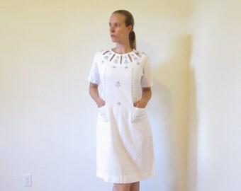 white Scandi dress, hand embroidered dress with flowers and birds, Scandinavian ladies fashion, white summer dress, elegant understated