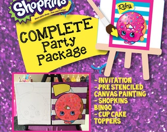 Shopkins Complete Birthday Party Package // Shopkins // Canvas Painting // BINGO Game // Cupcake Toppers // Printable Invitation