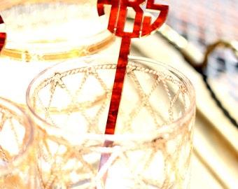Monogram Swizzle Stick Set of Six // Personalized Barware & Gift//Personalized Bar Set//Drink Stir Sticks//Mens Gift // Wedding