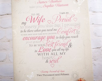 Wedding vows canvas with personalised names
