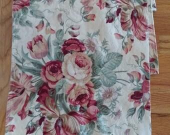 Waverly Valance -  Pink Cottage Roses and Tulips - Very Large Valance - Waverly Curtain