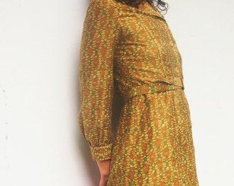 60's Vintage Long Sleeve Floral Print Midi Dress