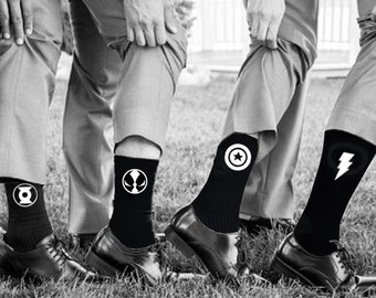 Superhero Wedding Socks Groom Socks Bestman Groomsmen