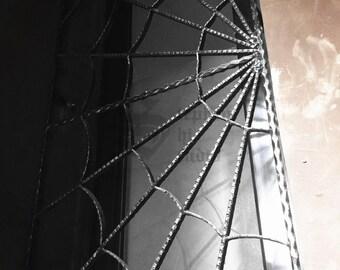 Custom Vintage Cast Iron Spider Web Window Door Fence Garden Gothic Metal Art Halloween Decor