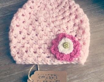 Crochet Flower Button Hat