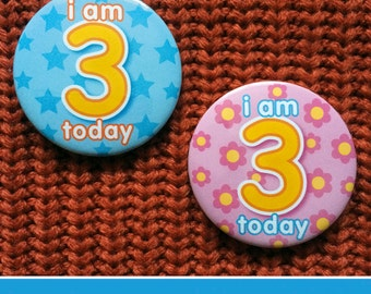 Birthday Age Button Badge – 3 Three