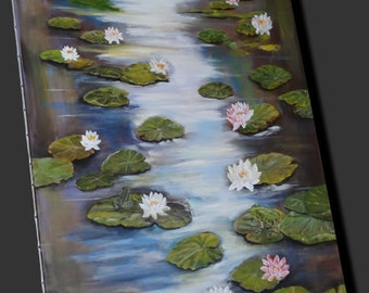 """Acrylic table, pond with water lilies in bloom and frogs """"Water lilies in bloom"""" """""""