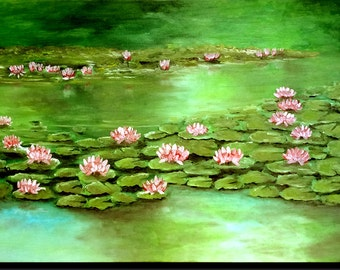 "Table oil, pond with water lilies ""Water lilies"""