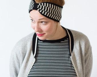Headband Frankie - Black and white striped turban headband made of pure merino wool - knitted by MARGOT & ME