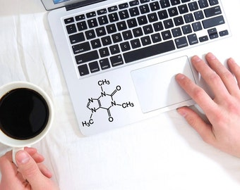 Caffeine Molecule decal, Caffeine Molecule sticker for macbook, laptop, car, notebook, tablet, ipad