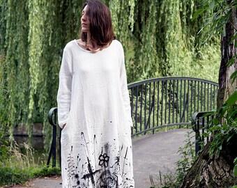 Maxi dress, White Japanese Linen hand Painted unique Dress, cotton unique size