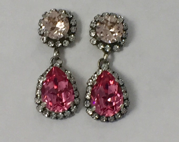Pink Swarovski crystal pear drop dangle post earrings surrounded by pave stones. Perfect for brides! Valentine's gift for her