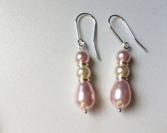Crystal Pearl and Sterling Silver Earrings