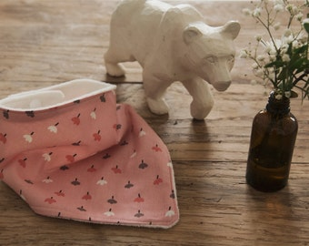 Baby - Pink Bandana bib & flowers