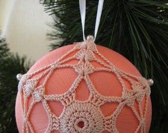 """Peach Satin """"Saturn"""" Ornament, Crocheted Ecru Motif"""