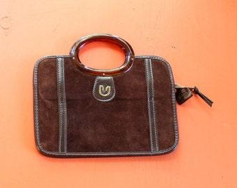 """brown suede briefcase purse . 1970s vintage attache purse . fits a 9.5"""" tablet"""