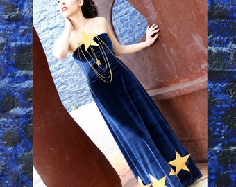 MADE TO ORDER Navy Blue Velvet Dress with Shimmering Gold Vinyl Stars and Gold Star Body Chain