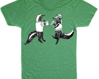 skunk shirt, party skunks, st. patricks day, drinking shirt, beer drinking, beer tshirt, irish shirt, men's gift idea, free shipping