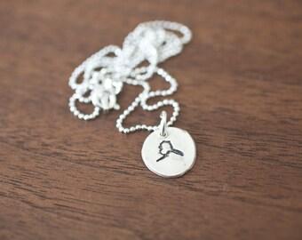 Tiny Alaska Necklace Silver Alaska Necklace State Charm State Necklace AK Small State Charm Alaska Charm Alaska Necklace