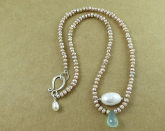 Fresh Water Akoya Pearl And Chalcedony Necklace