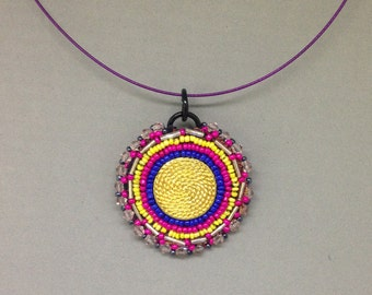 Round mandala pendant hot pink and pink crystal beaded, Vintage gold color button, with leather back pendant on 45 cm steel choker