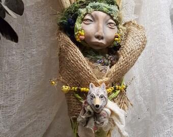 Witchy Decor ArtDoll, White Wolf Spirit, Kitchen Witch,  Assemblage Art doll Shabby Chic,  Decor OOAK