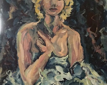 Marilyn Impressionist Seated figure in blues and yellows