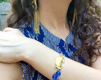 Blue Statement Bracelet, Blue Bracelet, Double Strand Bracelet, Blue Armadillo Bracelet, Armadillo Jewelry, Blue Armadillo, Animal Jewelry