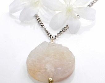 White Druzy Pendant Necklace Snowflake -  Crystal Necklace - Druzy Jewelry - Boho Chic Jewelry