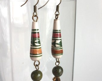 Handmade Forest Green Burgundy Earrings, Off White Long Teardrops Stripes Triangles Evergreen Trees, Moss Jasper Metallic Bronze Bead Dangle