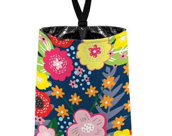 Car Trash Bag // Auto Trash Bag // Car Accessories // Car Litter Bag Car Garbage Bag - Floral Burst Navy Blue Car Organizer Flower