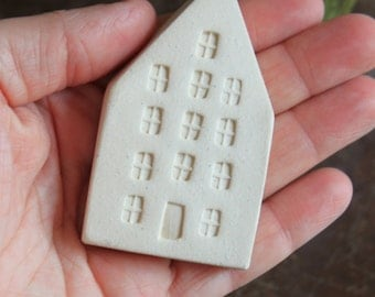 White Ceramic Miniature House - Ready to Ship