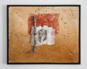 Original Abstract Art, Assemblage Art, BIOME 09, Large Mixed Media Wall Sculpture, Yellow Ochre, Rust, White, Rustic Decor, Framed Painting