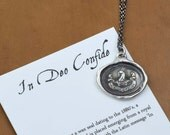 In God I Trust - In Deo Confide - Latin Antique Wax Seal Necklace - 240